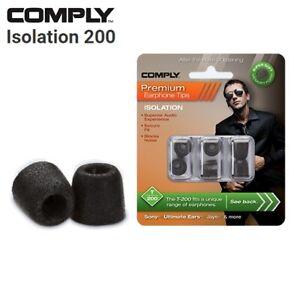 Comply Foam T-200 Isolation 3 Pairs In-Ear Earphone Tips Medium Black CK