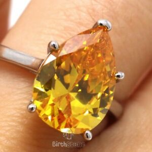 3Ct Pear Cut Yellow Citrine Ring Women Jewelry Gift 14K White Gold Plated