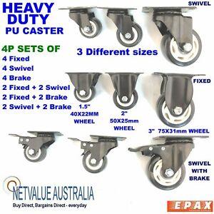 """4P set Heavy Duty PU Castor Wheel trolley Caster Swivel BRAKE fix 1.5"""" 2"""" or 3"""""""