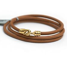 New DAVID YURMAN Multi Wrap Brown Leather Bracelet 18K Yellow Gold Clasp Medium