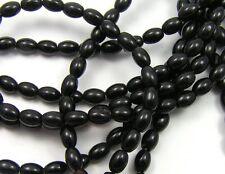 "15.5"" Strand BLACK ONYX 4x6mm Rice Oval Beads"