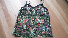 LADIES CUTE BLACK FLORAL SHEER POLYCOTTON SLEEVELESS TOP NO BRAND SIZE 16/18