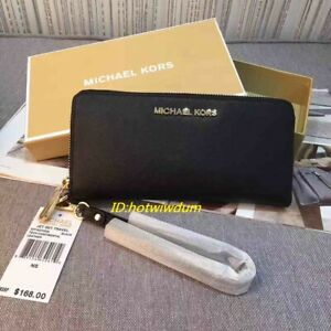 Genuine Michael Kors Saffiano Leather Jet Set Travel Purse strap Wallet black