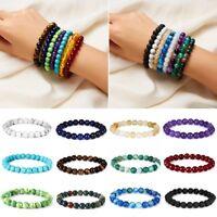 Men Natural Lava Rock Beads Gemstones Bangle Buddha Tiger's Eye Round Bracelet