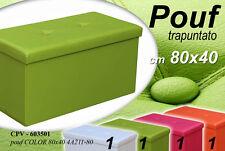 POUF CONTENITORE IMBOTTITO TRAPUNTATO COLORATO 80X40CM CPV-603501