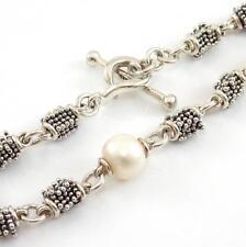 "Michael Dawkins Sterling Silver Pearl Bead Link Toggle Bracelet 7.25"" LDA18"