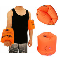 Inflatable Swim Rollup Arm Bands Rings Floats Tube Armlets for Kids Adult