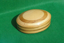 AN OVAL SHAPED WOOD RING BOX WITH  HINGED LID IN LAMiNATED WOODS CREAM LINING