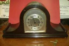 Antique German domed wood cased mantel clock working slight cosmetic fixer