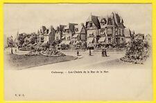cpa 14 - CABOURG (Calvados) Les CHALETS de la Rue de la MER VILLAS Dos 1900