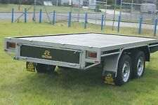 Flat Top Tray Tandem Trailer with Full Checker Plate Floor & Hydraulic Brakes