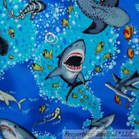 BonEful Fabric FQ Cotton Quilt Aqua Blue Sea Ocean Water L SHARK Fish Beach Boy