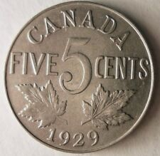 1929 CANADA 5 CENTS - Excellent Coin - Free Ship - Premium Vintage Bin #2