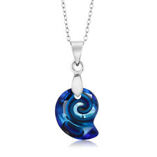 Bermuda Blue Simulated Shell Pendant Necklace Created with Swarovski® Crystals