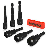 Neiko 6PC Impact Magnetic Nut Driver Set | CR-V SAE 1/4,5/16,3/8,7/16,1/2,9/16