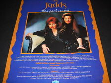 The JUDDS Their Final Concert on videocassette and laserdisc 1992 PROMO AD mint