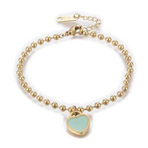 "Stainless Steel Bracelet Enamel Lobster Heart Gold Turquoise Pink 6.3"" 3mm Z107"