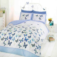 Double Bed Butterfly Flutter Blue White Duvet Bedding Set With Pillow Cases