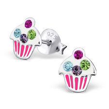 Childrens CZ Enamel CUPCAKE Birthday Stud Earrings 925 Sterling Silver - ES1362