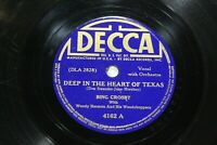 "Bing Crosby Woody Herman Decca 4162  78 Record 10"" Deep In The Heart Of Texas"