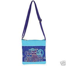 Laurel Burch Indigo Cats Blue Crossbody Bright Canvas Tote Bag Handbag NWT
