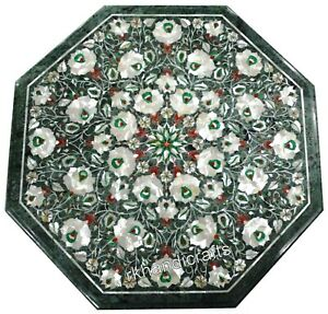 Shiny Gemstones Inlaid Center Table Top Green Marble Coffee 24 Inches
