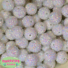 20mm White Resin Rhinestone Bubblegum Beads 20 pc lot