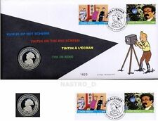 Numisletter Tintin on the big screen à l'écran 2 stamps timbres 1 medal médaille