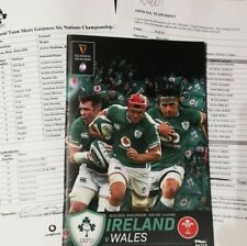 Ireland v Wales February 2020 Six Nations rugby programme & official teamsheets