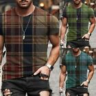 Mens Plaid Printed Short Sleeve T-Shirt Blouse Summer Casual Fitness Tops Tee