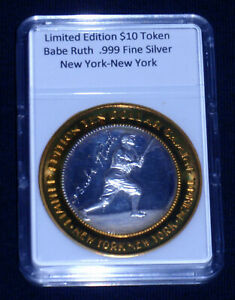 Babe Ruth Limited Edition $10 SILVER Token<>999 Fine Silver<>New York<>LAST COIN