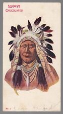 "[53931] OLD POSTCARD ""LOWNEY'S CHOCOLATES"" NATIVE AMERICAN IN HEAD DRESS"