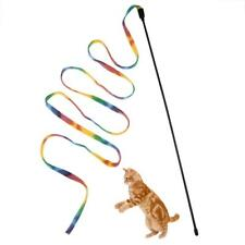 Pet Cat Kitten Toys Rainbow Cloth Stripe Tease Cats Rod Teaser Funny Playing Toy