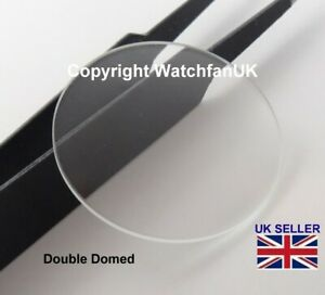 Watch Glass Mineral Crystal - Domed Round - 1mm thick range 18mm to 50mm
