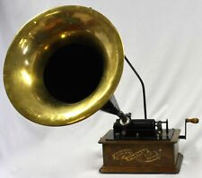 Antique Edison Cylinder Phonograph Music Player. Large Horn.Cleaned+Oiled. Works