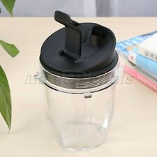 350ml Transparent Juicer Blender Cup Bottle Container Black Lid for Nutri Ninja