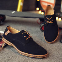 Men's Suede Business Oxfords Leather Shoes Casual Lace Up Flats Dress Loafers