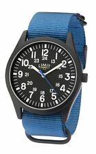 Limit Gents Military Style Black Watch with Blue Strap 5724