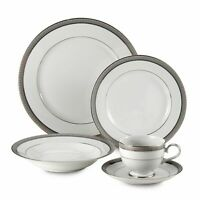 MIKASA PLATINUM CROWN SILVER GREY WHITE DINNER PLACE SETTING 5 PC FINE CHINA LN
