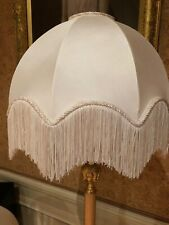 Vintage Victorian Traditional Downton Abbey Deco Ivory Silky Satin Lampshade X 2