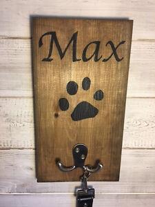 Pet Name Leash Holder/Personalised Leash Holder/Dog Lover Gift/Paw Print hook