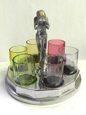 "Farberware Art Deco Rainbow Cordial/Shot Glasses Chrome Tray ""Weeping Nude"""