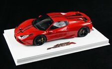 1/18 BBR FERRARI 458 SPECIALE A COUPE METALLIC F1 RED DELUXE BASE LE 10 PCS N MR