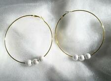 BIG GOLDTONE HOOP EARRINGS WITH SILVER SIM  DIAMOND LOOK BALLS DIY GLAM