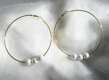 BIG GOLDTONE HOOP EARRINGS WITH SILVER DIAMOND LOOK BALLS DIY GLAM