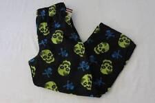 NEW Boys Fleece Lounge Pants Small 6 - 7 Black Green Skulls Pockets Pajamas PJ