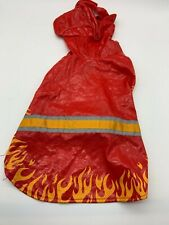 Top Paw Pet Dog Costume Clothing Sz L Firefighter Halloween Hood Red