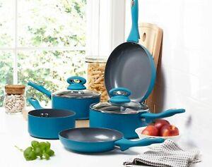 5 Piece Induction Hob Ceramic Aluminium Saucepan Set Non Stick Frying Pan Blue