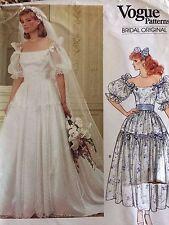 Vtg Vogue Patterns 1165 Sz 8 Bridal Dress & Petticoat Wedding Bridesmaid UNCUT