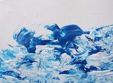 "WATERFALL BLUE OCEAN Acrylic Painting 9""x12"" Seascape Art OOAK Julia Garcia"